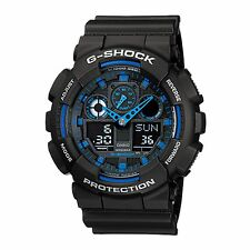 Casio G-Shock Mens Wrist Watch GA100-1A2 GA-100-1A2 Digital-Analogue Black Blue