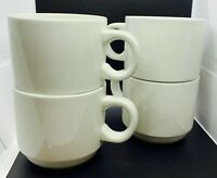 Stacking Coffee Cups Mugs Plain White Set of 4 Made in England 10 oz