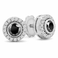 1.41 CTW BLACK ROUND DIAMOND STUD EARRINGS 14K WHITE GOLD
