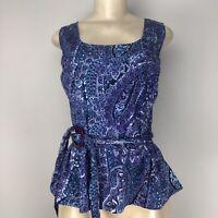 Jones NY Women's Scoop Neck Sleeveless Blue Purple Top Size XL NWT MSRP $69