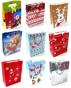 3 x Medium Christmas Gift Bags Wrapping Present Party Bag Xmas Bags
