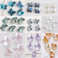 10/20Pcs Faceted Glass Crystal Butterfly Shape Loose Spacer Beads Jewelry Making