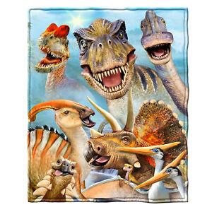 Dawhud Direct Dinosaur Selfie Super Soft Plush Fleece Throw Blanket