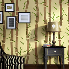 Wall Bamboo Stencil, Allover Template instead of wallpaper for Painting Decor