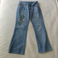 Billabong Juniors Jeans Size 3 Embroidered Distressed Pockets Boho Hippie Light