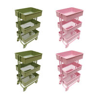 4 Pack 1:12 Metal Storage Shelf Rack for Dollhouse Room Decor Accs Pink&Green