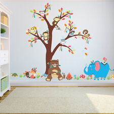 Bear Jungle Monkey Squirrel Owl Animal Tree Wall Stickers Removable Kids Nursery