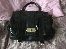 LUELLA Mulberry Black Patent Leather Satchel Messenger Bag