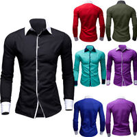 Fashion Mens Casual Formal Shirt Loose Fit Shirt Top Long Sleeve Luxury T-Shirts
