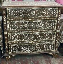 Vintage Syrian Sideboard Curving Wood , Inlaid Mother of Pearl