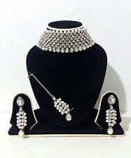 New Indian Bollywood Jewellery Choker set Silver Plate With Silver Stone