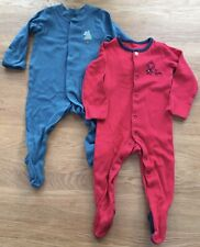 2 x M&S Baby Boy's Turquoise Teal Blue & Red Babygrows Sleepsuits Age 3-6 Months