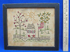 Decorative Shabby Hanging Needlepoint Picture Home Cottage USA Flag Country Chic