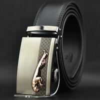 Fashion Men's Jaguar Genuine Leather Automatic Buckle Belt Ratchet Strap Trend