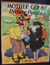Vintage 1941 Antique Children's Mother Goose   2 Puzzles Saalfield Pub Co W/ Box
