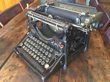 Antique Underwood Typewriter Black Steel Industrial Glass Keys Work Stenciling 5