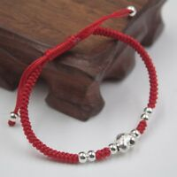 New Sterling S925 Silver Knitted Bracelet Lucky Heart Charm Adjustable