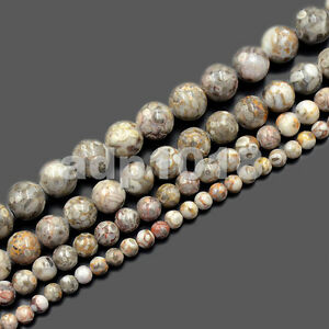 """Natural Crinoid Fossil Gemstone Round Beads 15.5"""" 4mm 6mm 8mm 10mm"""