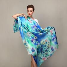 Grand Foulard 175 X 110 cm 100% Pure Soie Bleu/vert Motifs Fleurs