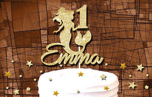 MERMAID CUSTOM NAME AGE  GLITTER CAKE TOPPER BIRTHDAY PARTY DECORATION