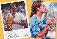 Roger FEDERER - 2 SUPER Autogramm Bilder (4) - Print Copies + Sport AK signiert