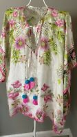 Johnny Was Womens Galore Ivory Silk Floral Blouse Kimono Top  O/S Galore Top