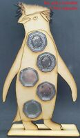 Tall Penguin 50p Pence Coin Holder Coin Stand Display MDF Fits Set of 5 Coins