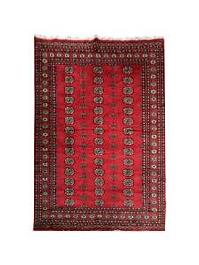 6'8'' x 4'8'' (ft)-Red Hand Knotted   Pakistani Bokhara   Area Rug   StampaRugs