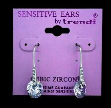 Cubic Zirconia Rivoli Cut Silver Drop Earring - For Sensitive Ears!!!!