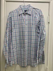 Vineyard Vines Classic Fit Tucker shirt XL Blue Plaid Long Sleeve Button Down