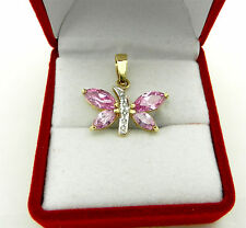 Beautiful 14k 583 Yellow Gold Pink Topaz Butterfly Charm Pendant Diamond Accent