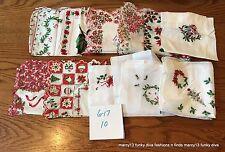 11 Charming Vintage Hankies Handkerchiefs Christmas Holiday Theme