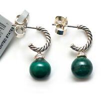 New DAVID YURMAN Solari Green Malachite Drop Earrings in Silver and Diamond