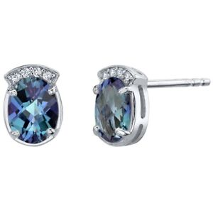 Simulated Alexandrite Sterling Silver Aura Stud Earrings 3.25 Carats Total