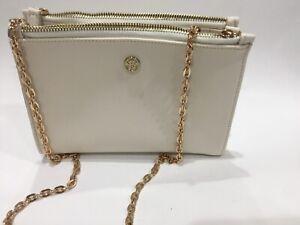 Sulwhasoo Gold Toned Metal Strap Bag Off White Mini 2 Way Crossbody/Shoulder