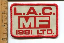 VINTAGE  ADVERTISING L.A.C. MF 1981 LTD.  MASSEY FERGUSON?  HAT/JACKET PATCH