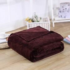 Solid Colors Flannel Coral Fleece Blanket Soft Warm Air Conditioning Bedspreads