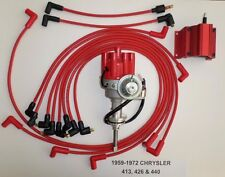 CHRYSLER 440 1959-72 RED Small Female Cap HEI Distributor +Coil+Spark Plug Wires