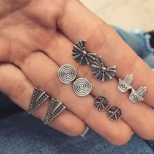 5Pairs Boho Peace Sign Fatima Hand Triangle Silver Earrings for Women Girls...