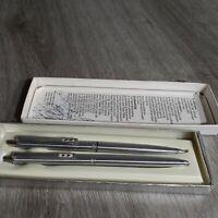 Vintage Paper Mate 512 Chrome Pen And Pencil Set Double Heart