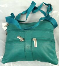 Brand New Women cross body neck purse genuine leather satchel Teal Purse Bag