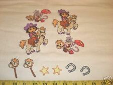 10 pc Dora Cowgirl Western Fabric Applique Iron On Ons