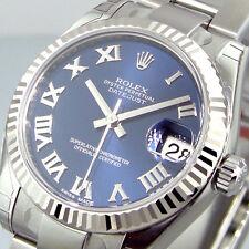 ROLEX DATEJUST 178274 MID SIZE 31 mm STEEL OYSTER BRACELET BLUE ROMAN