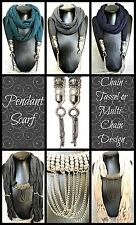 1x PENDANT SCARF~Silver~Womens Clothing/Accessories