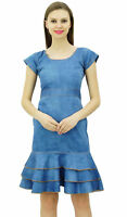 Bimba Women's Washed Denim Bodycon Dress Fit & Flare Casual Chic Dresses