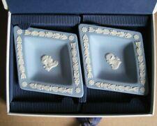 Wedgwood Jasperware Blue Collectors Society Pair Diamond Dishes Boxed
