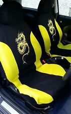 6 PCE YELLOW DRAGON DESIGN FULL SET OF SEAT COVERS FOR ALL PEUGEOT