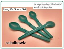 TUPPERWARE HANG ON SPOON, Set of 4 SPOONS Baby Food, Condiments, Spices GREEN