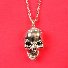 Biker Hals Kette Blogger Bettelkette Anhänger Totenkopf Skull Farbe Kupfer