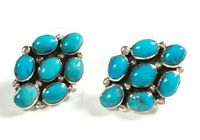 "925 STERLING SILVER FLOWER CLUSTER TURQUOISE  7/8"" x 5/8"" POST EARRINGS"